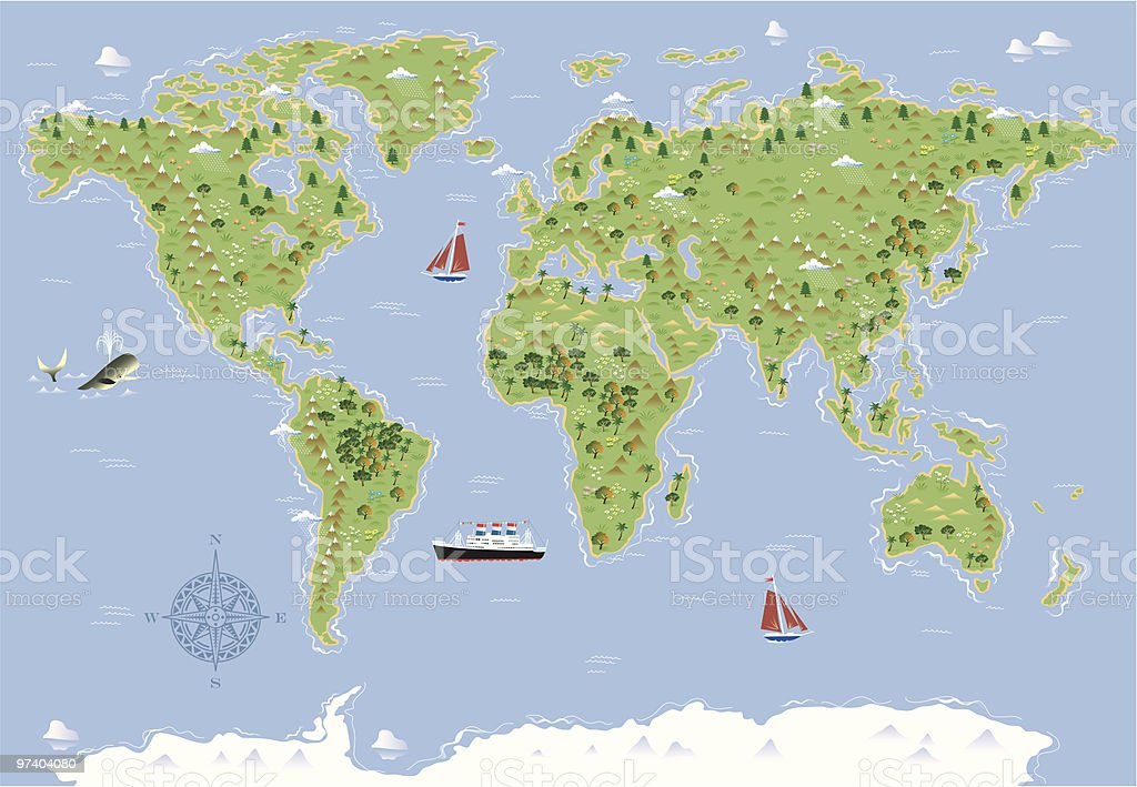 World map illustrated royalty-free stock vector art