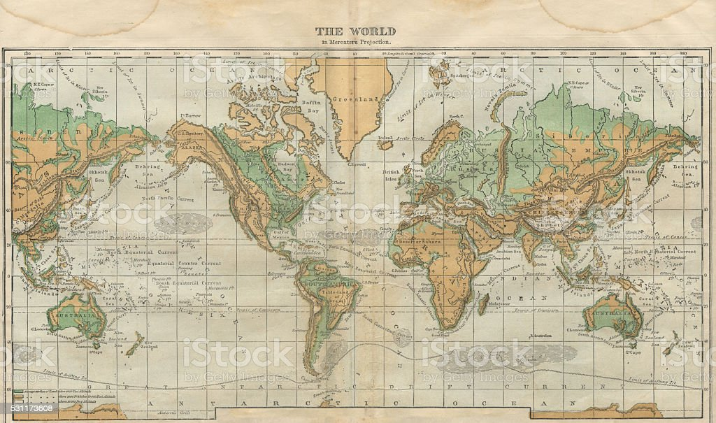 World Map Illustration, Travel, Exploration, Antique 1871 Illustration stock photo