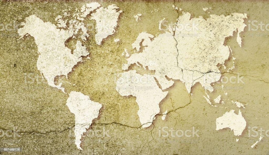 World map on sepia cracked background. Basic image for map courtesy NASA. vector art illustration