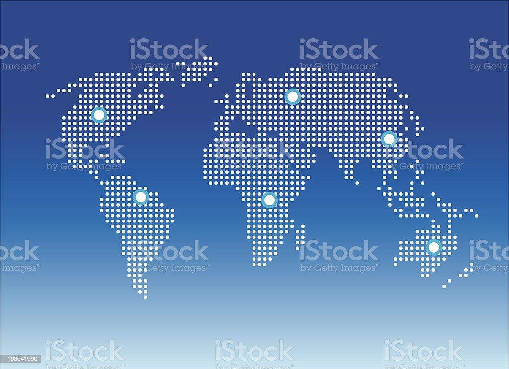 World Map Pixel vector art illustration