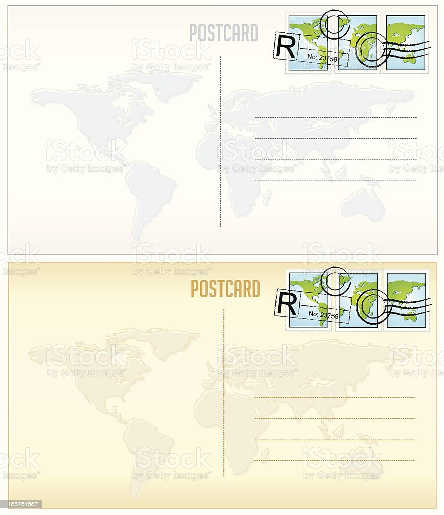 World Map Postcards and Stamps royalty-free stock vector art