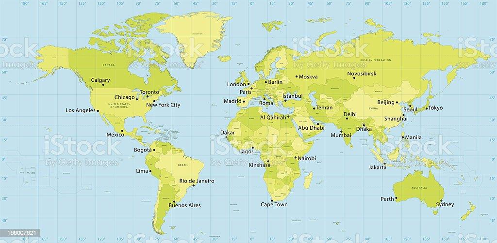 World Map Vector Countries vector art illustration