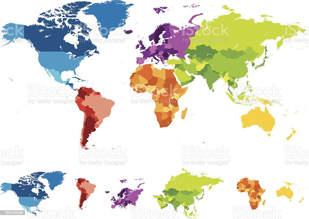 World map with different colored continents vector art illustration