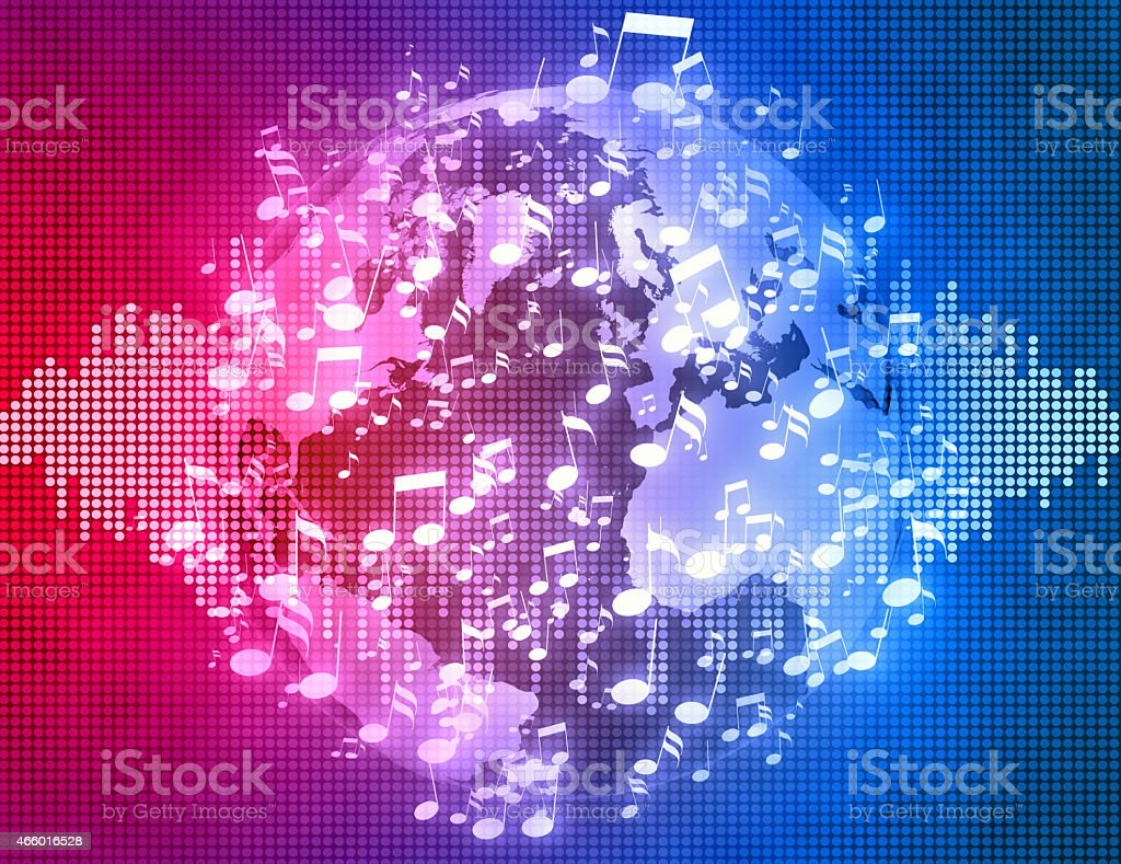 World music soundwave background: explosion of sounds around Earth vector art illustration