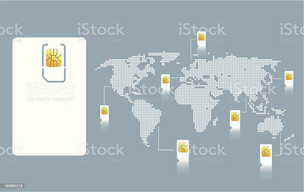 World of sim card vector art illustration