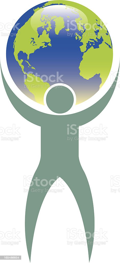 World on his shoulders royalty-free stock vector art