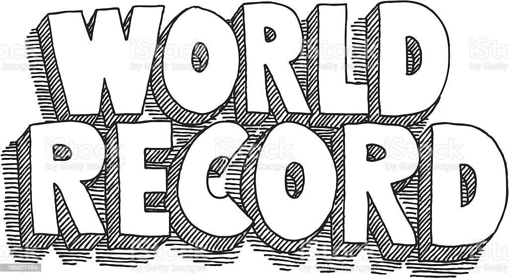 World Record Lettering Drawing royalty-free stock vector art