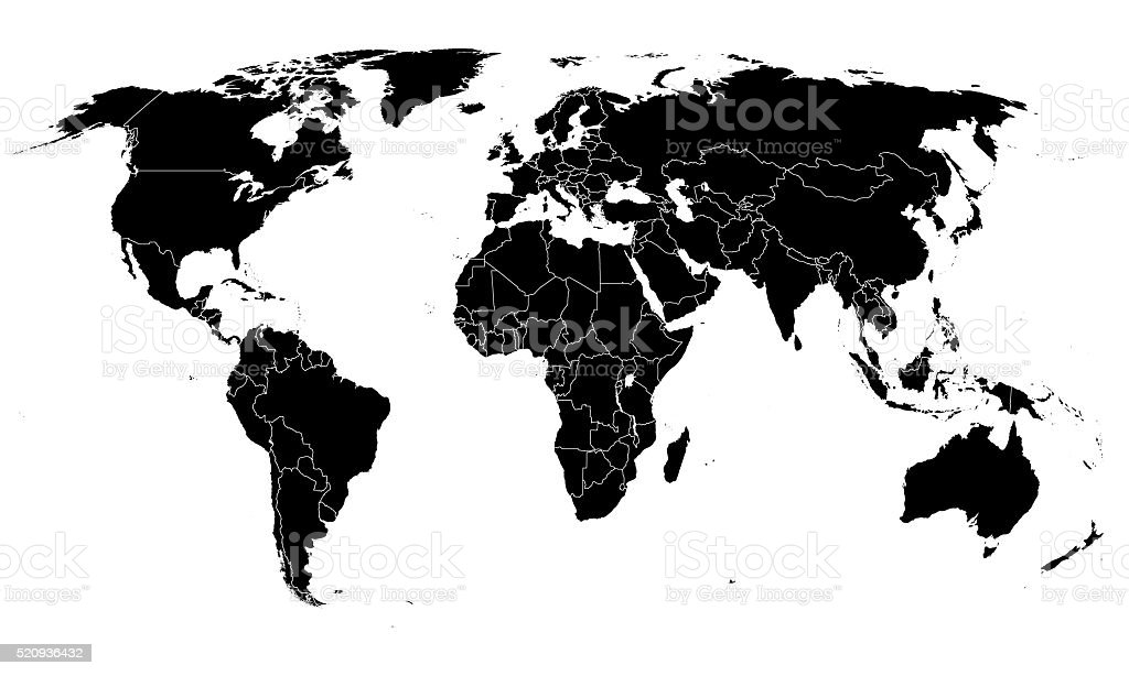 World simple map on white background stock photo