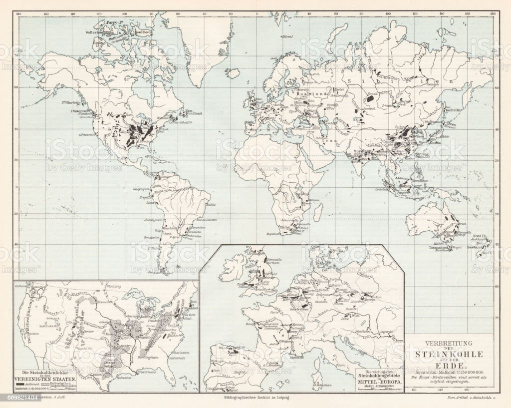 World spread of hardwood map 1895 vector art illustration