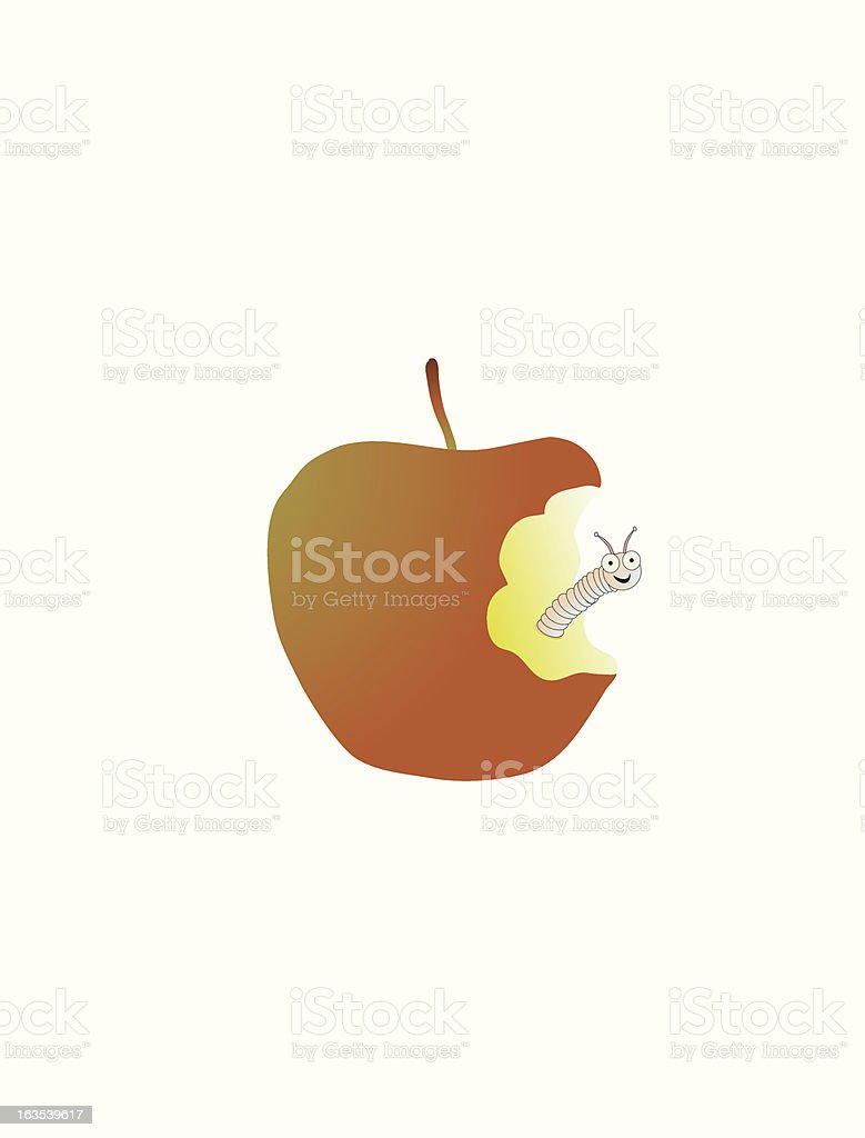 worm in apple royalty-free stock vector art