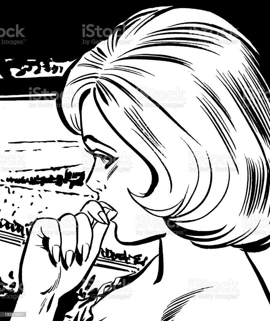 Worried Blonde Woman With Hand to Mouth royalty-free stock vector art