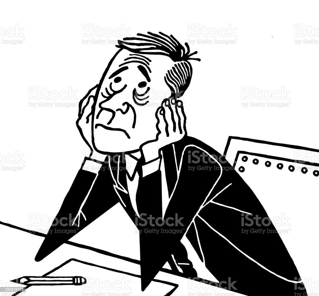 Worried Man at Desk vector art illustration