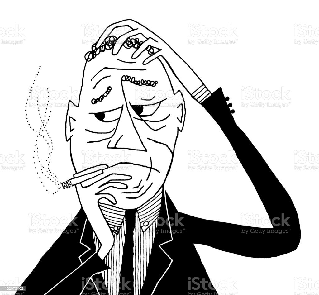 Worried Man Smoking vector art illustration