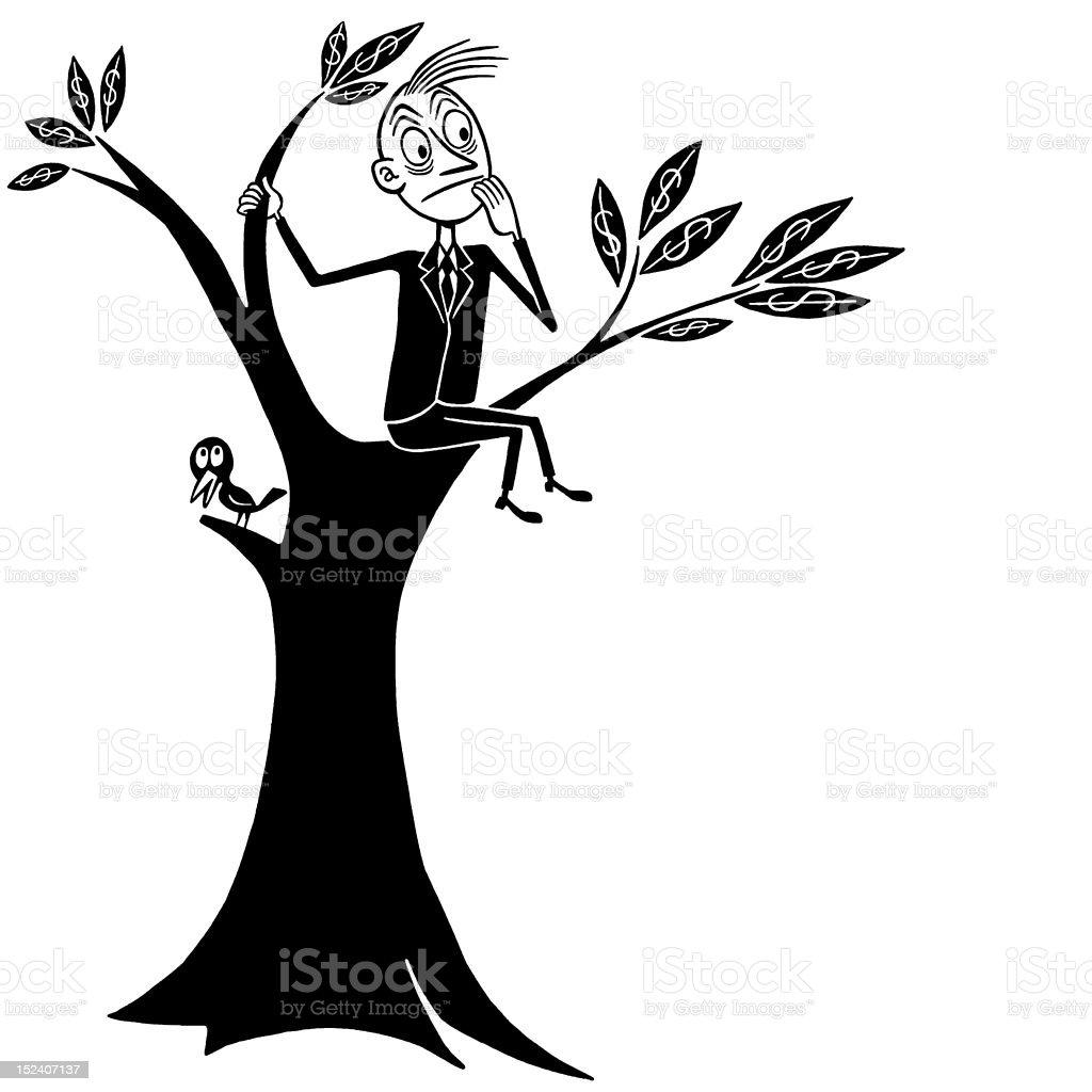 Worried Man Up a Tree vector art illustration
