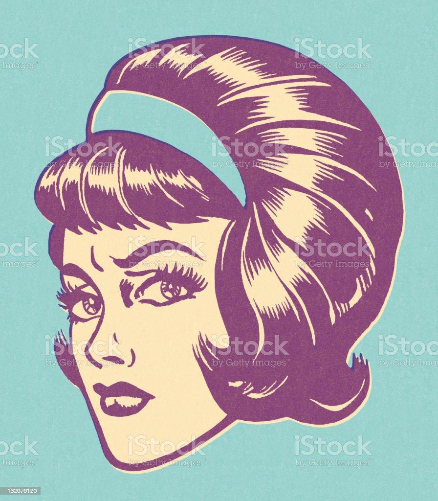 Worried Woman Wearing Headband vector art illustration