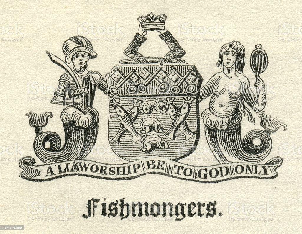 Worshipful Company of Fishmongers armorial vector art illustration