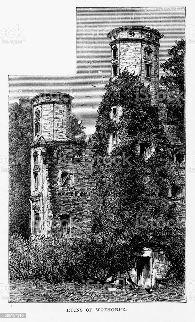 Wothorpe Castle Ruins, in Stamford, England Victorian Engraving, Circa 1840 vector art illustration