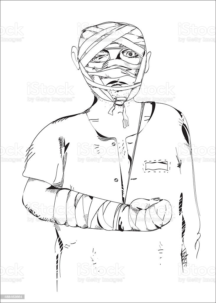 Wounded Man vector art illustration