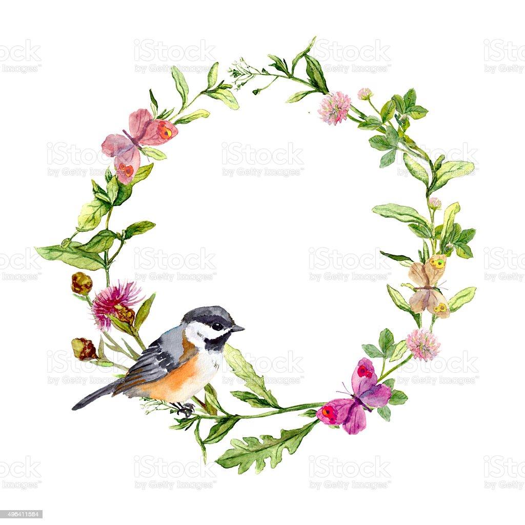 WreathBorderFrameWithHerbsMeadowFlowersAndButterfliesWatercolorStockVectorArtMore