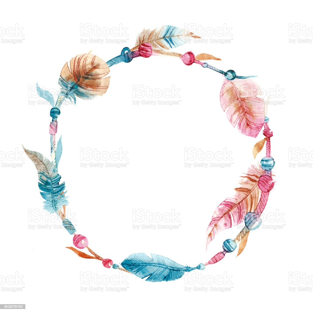 Wreath Of Hand Drawn Watercolor Paintings Vibrant Feather ...