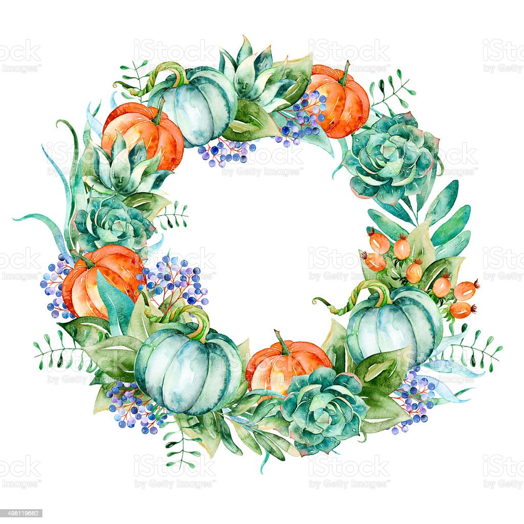Wreath of high quality hand painted watercolor elements vector art illustration