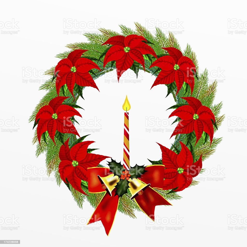 Wreath of Pine Leaves with Christmas Decoration royalty-free stock vector art