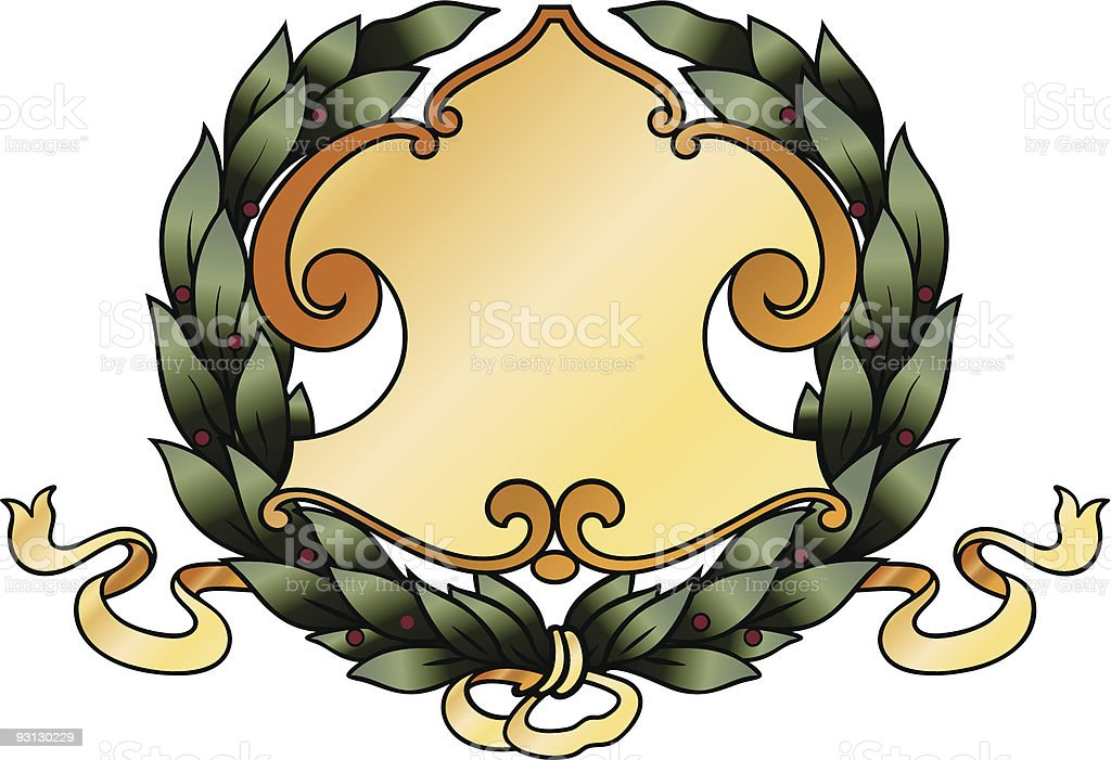 wreath with shield (Vector) royalty-free stock vector art