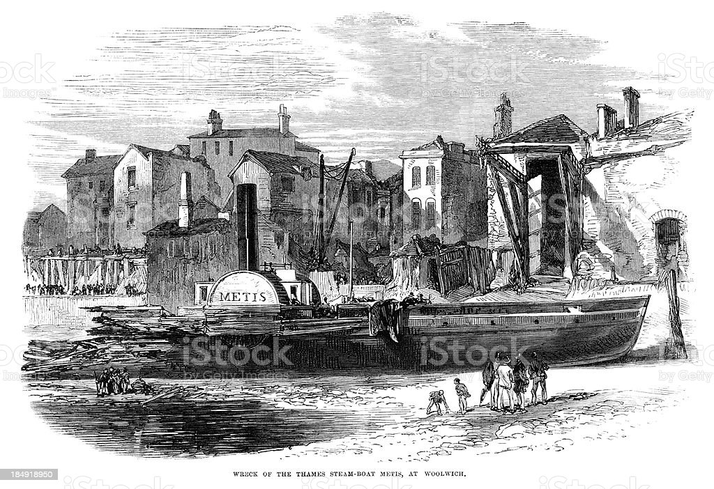 Wreck of the steamboat 'Metis' at Woolwich (1867 engraving ILN) royalty-free stock vector art