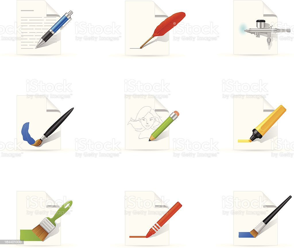 Writing And Draw Icon royalty-free stock vector art