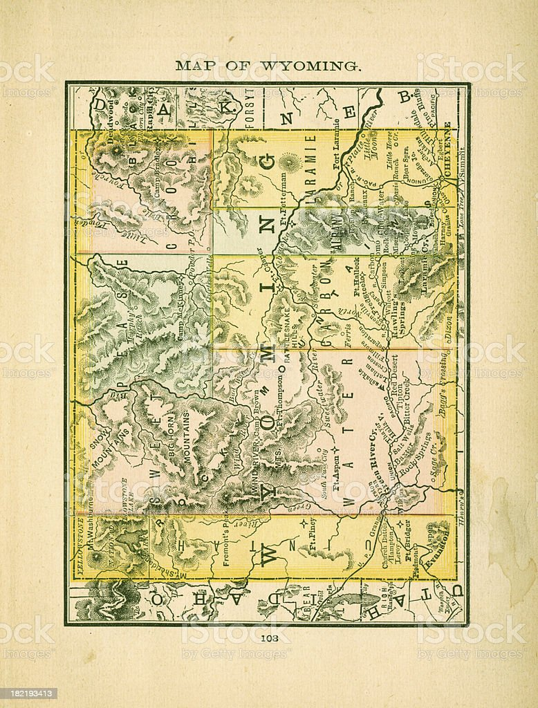 Wyoming | USA Antique Maps High Resolution royalty-free stock vector art
