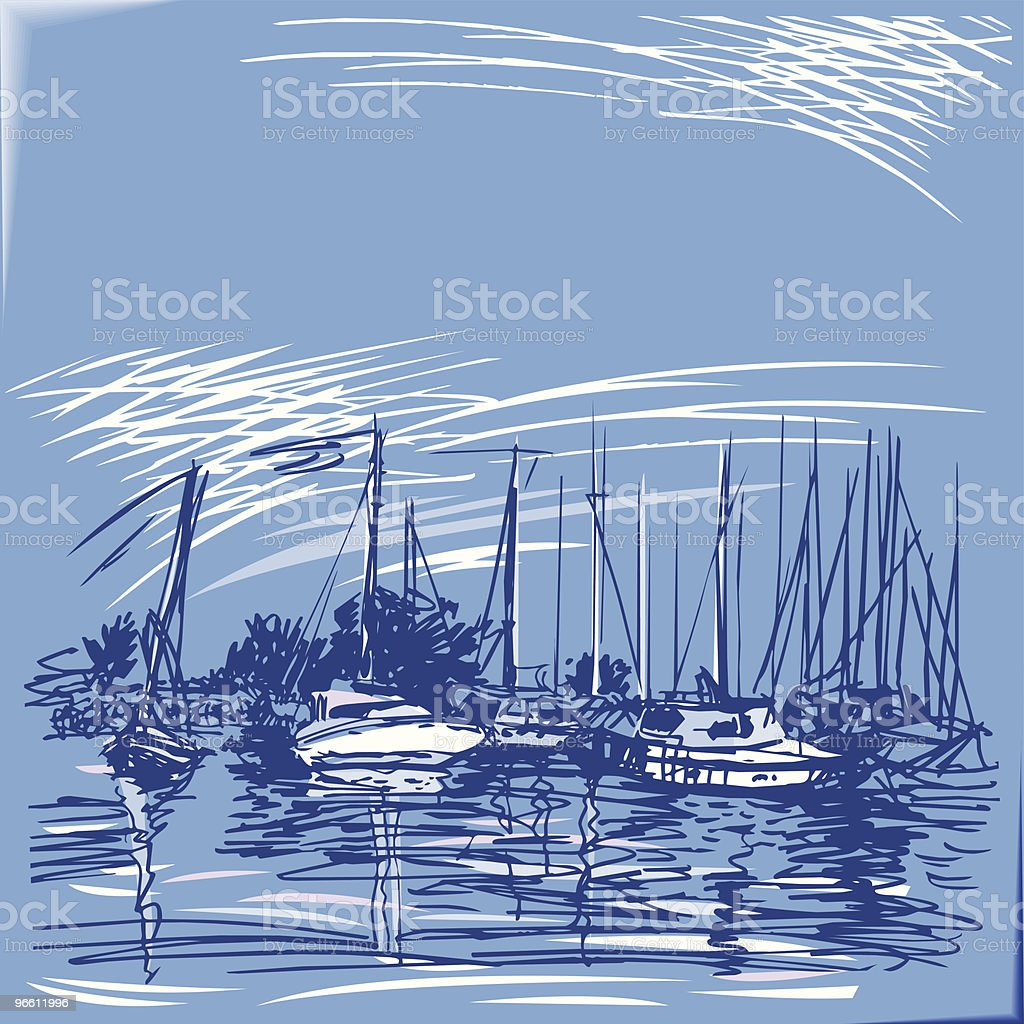 Yachts along the pier. royalty-free stock vector art