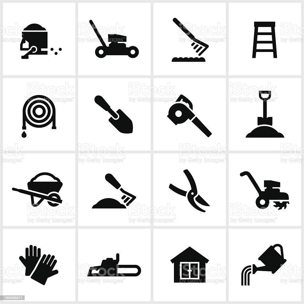 Yard Equipment Icons vector art illustration