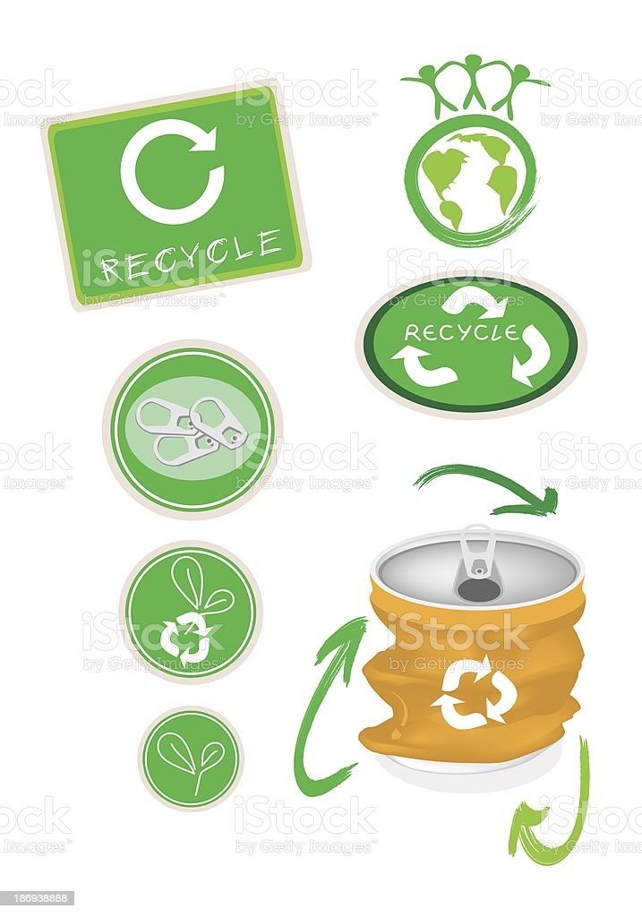 Yellow Aluminum Can with Recycle Symbol for Save The World royalty-free stock vector art