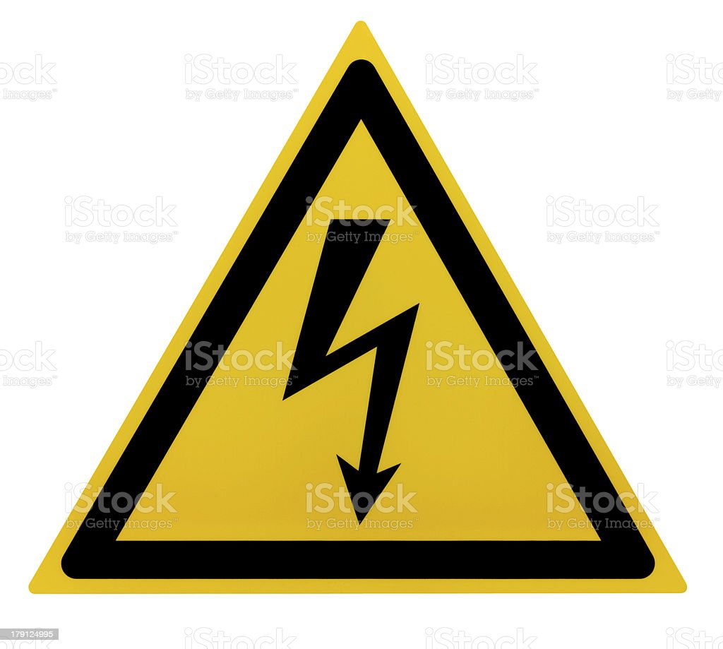 Yellow and black high voltage triangle sign royalty-free stock vector art