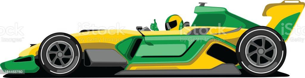 Yellow and Green Formula One Car. vector art illustration