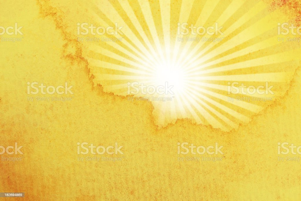 A yellow and white water colored sun royalty-free stock vector art
