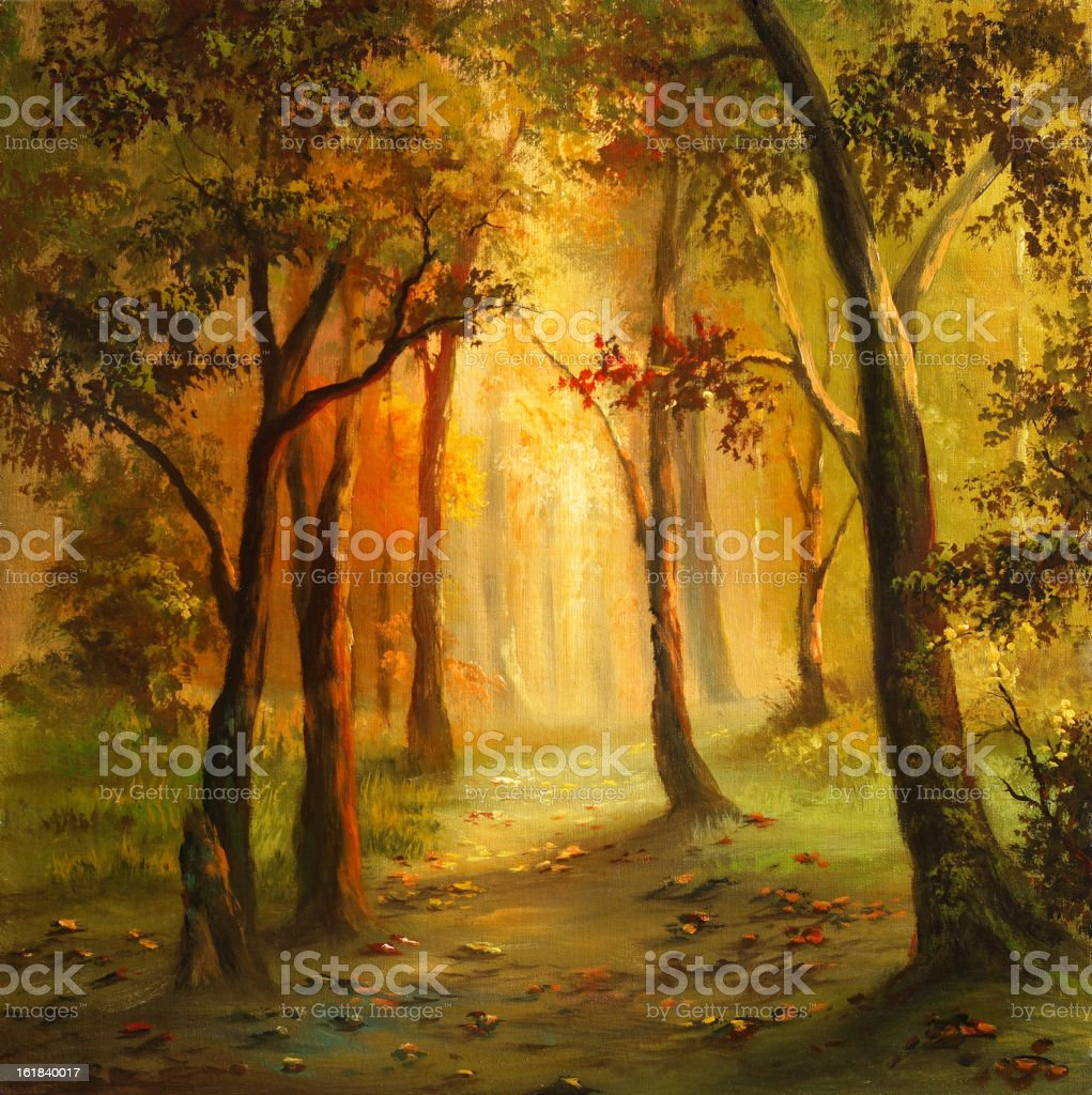 Yellow autumn vector art illustration