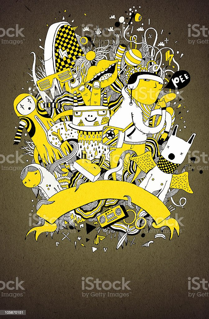 Yellow, black, and white doodle poster vector art illustration