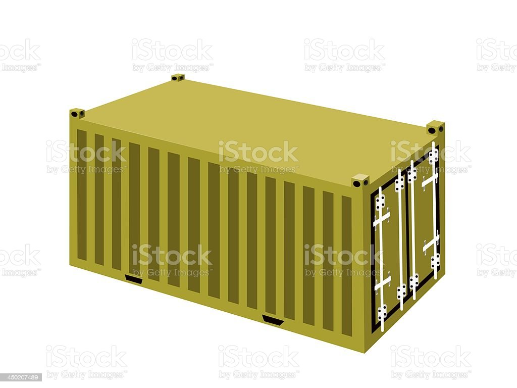 Yellow Cargo Containers on White Background royalty-free stock vector art