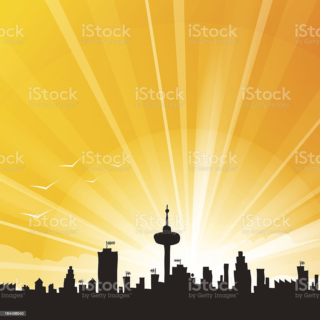 Yellow City Skyline royalty-free stock vector art