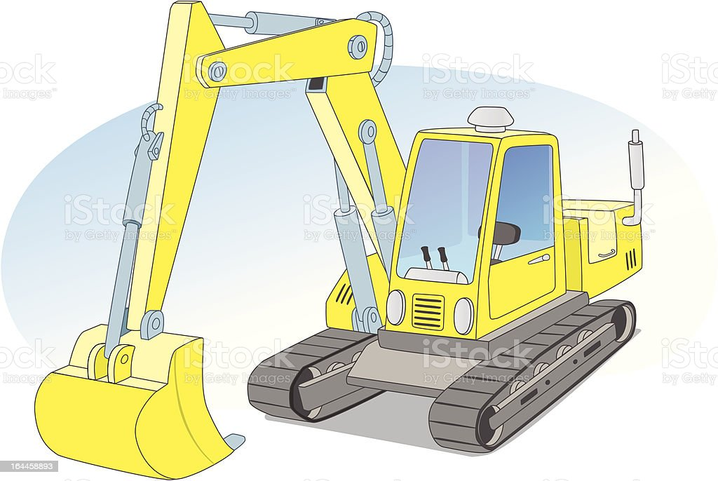 Yellow construction excavator royalty-free stock vector art
