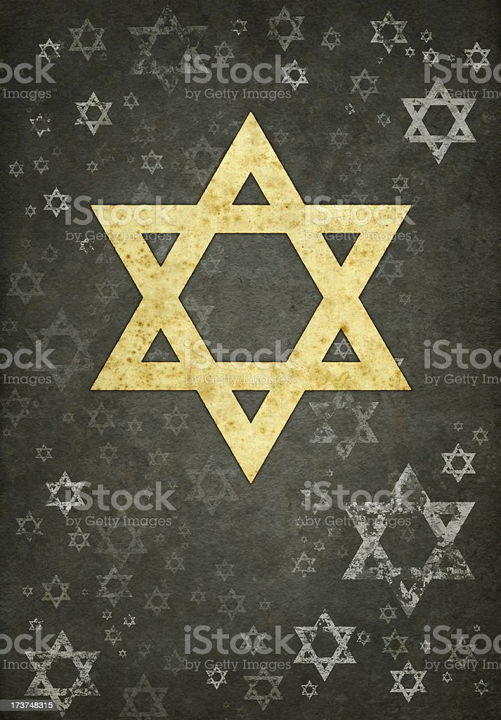 yellow david's star on grunge gray background royalty-free stock vector art