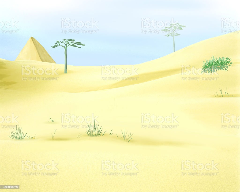 Yellow Desert Sands Under a Blue Sky vector art illustration