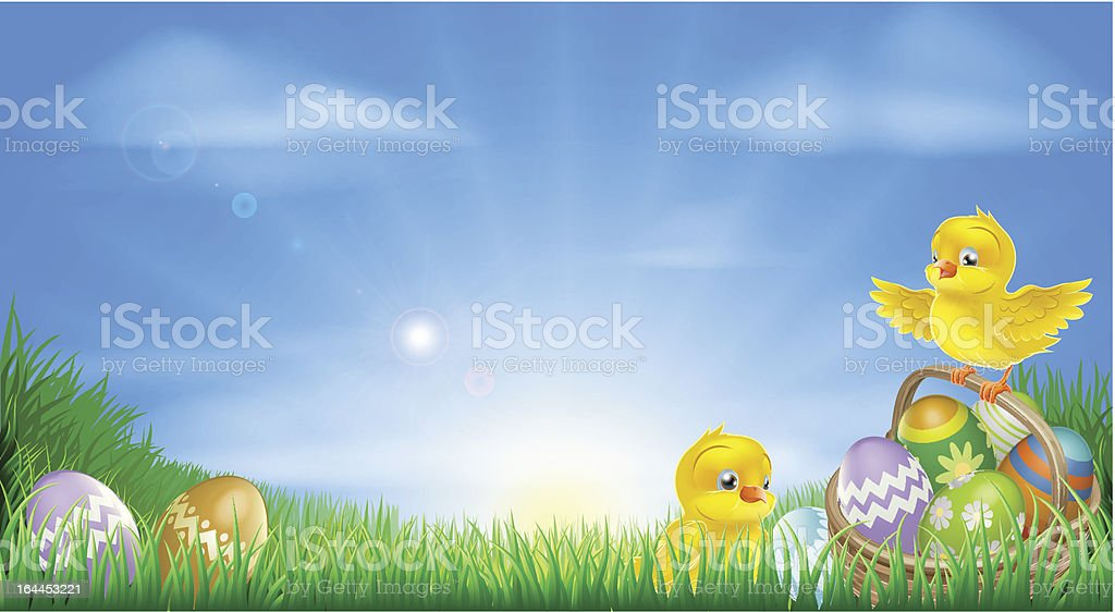 Yellow Easter chicks and eggs background vector art illustration