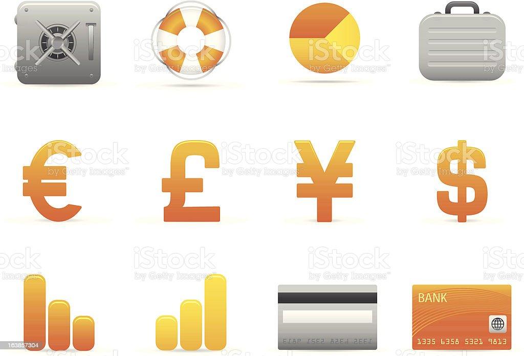 Żółty Finanse ikony stockowa ilustracja wektorowa royalty-free