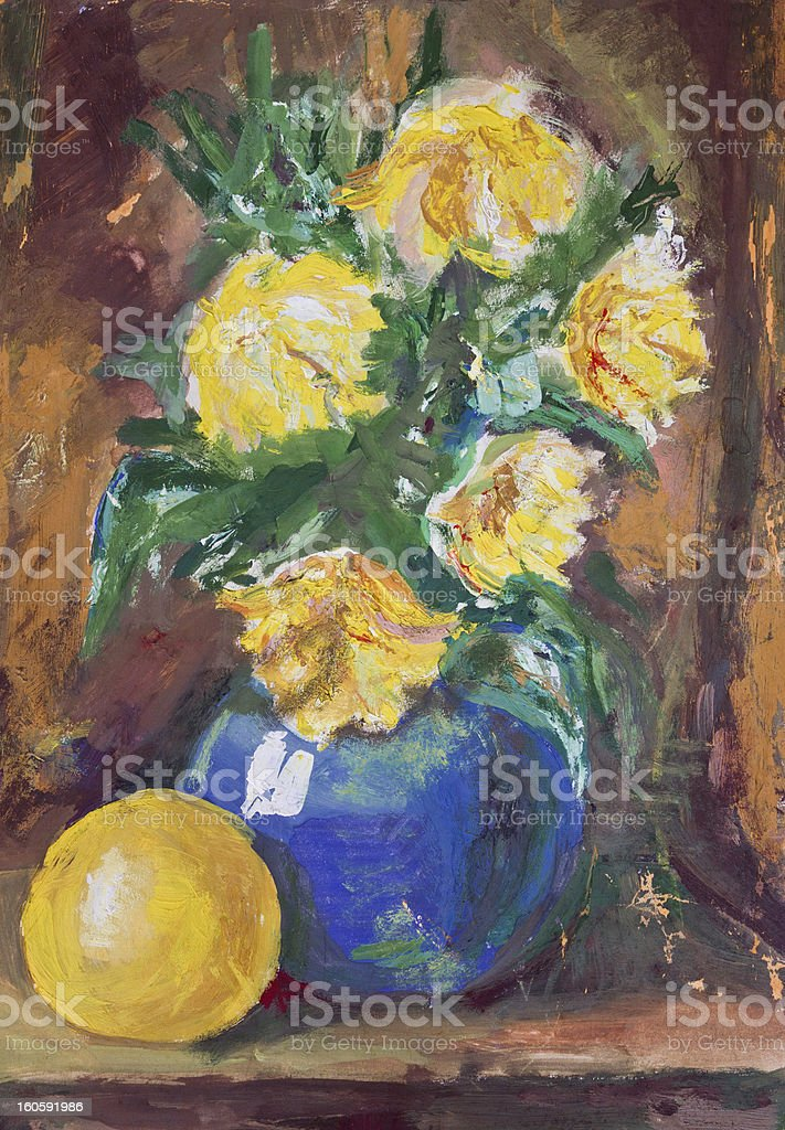 Yellow Flowers Bouquet painting royalty-free stock vector art