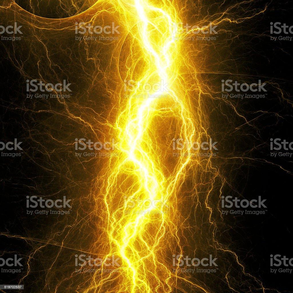 Yellow lightnig vector art illustration