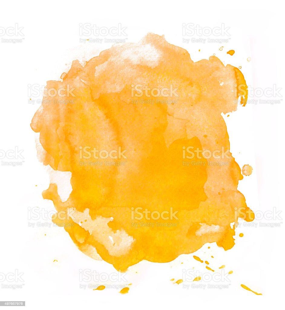 Yellow - orange splash of watercolor vector art illustration