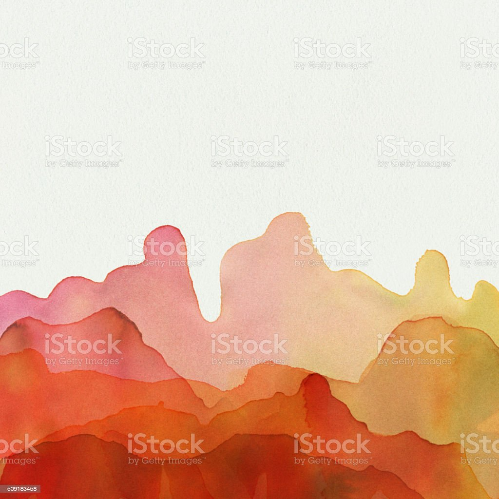 Yellow Orange Watercolor Paint On Textured Paper vector art illustration