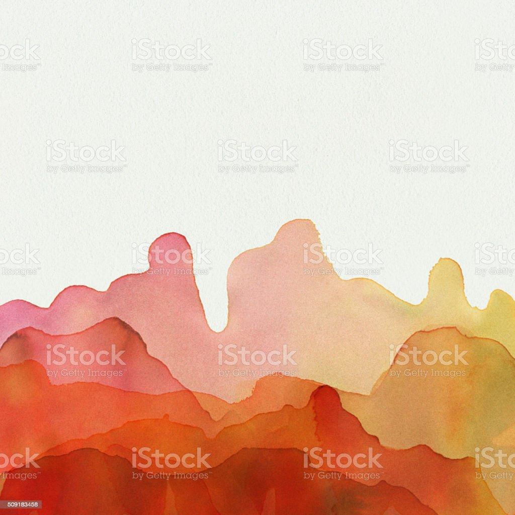 Yellow Orange Watercolor Paint On Textured Paper vector art illustration